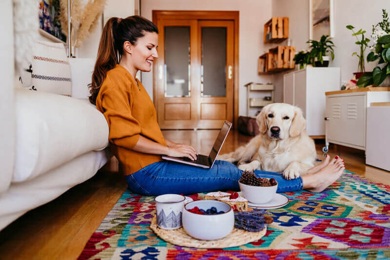 Young woman working on laptop with cute golden retriever dog.
